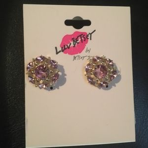 Luv Betsey Pink Flower Rhinestone Earrings